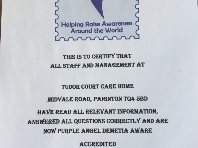 Purple Angel Aware certificate