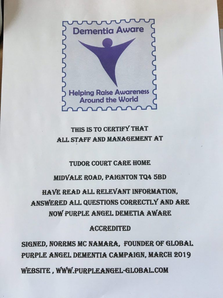 Purple Angel Aware certificate