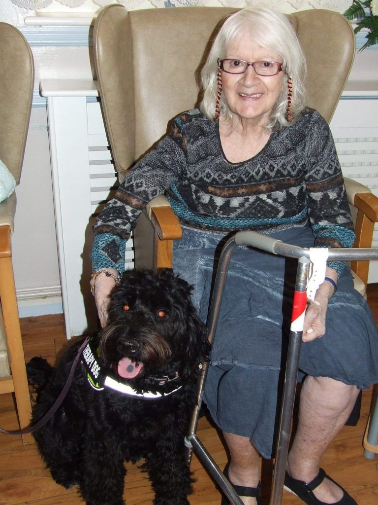 Residents enjoy a visit from Gracie Therapy dogs once a month.